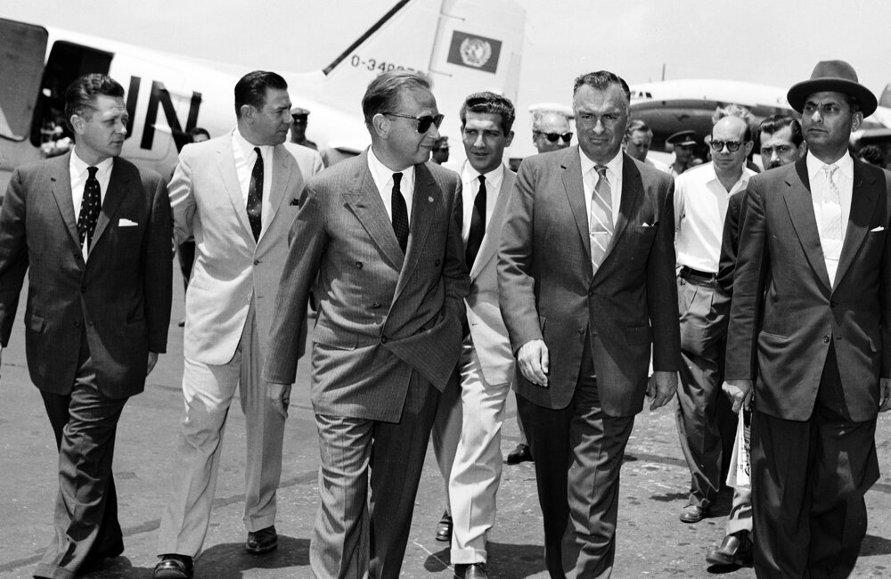 UN Secretary-General Dag Hammarskjöld  arrives at Beirut Airport to attend UN Observer Group for Lebanon meetings in Lebanon (1958)