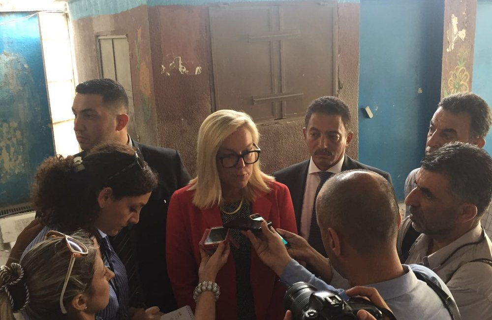 Press stakeout at Ein El-Hilweh