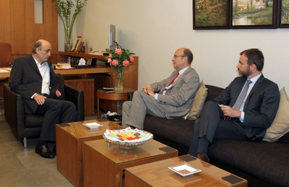 SCL Derek Plumbly Meets Lebanese Forces Leader Samir Geagea (14 06 13) - Photo Aldo Ayoub