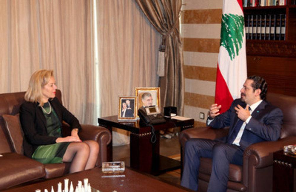 U.N. Special Coordinator for Lebanon Sigrid Kaag  with Former Prime Minister Saad Hariri  (19 02 15)
