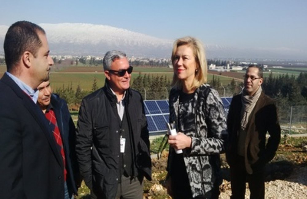 SCL Sigrid Kaag visits Solar Panel Installation in Terbol (26 02 15)