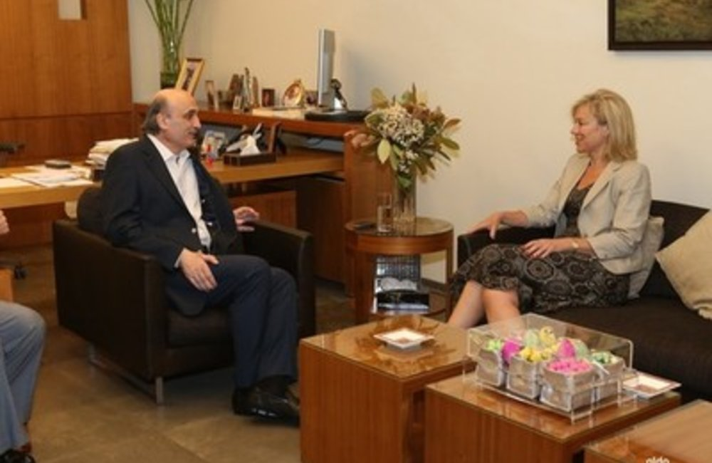 Samir Geagea received in Maarab UN Special Coordinator for Lebanon SIgrid Kaag (27 04 2015)