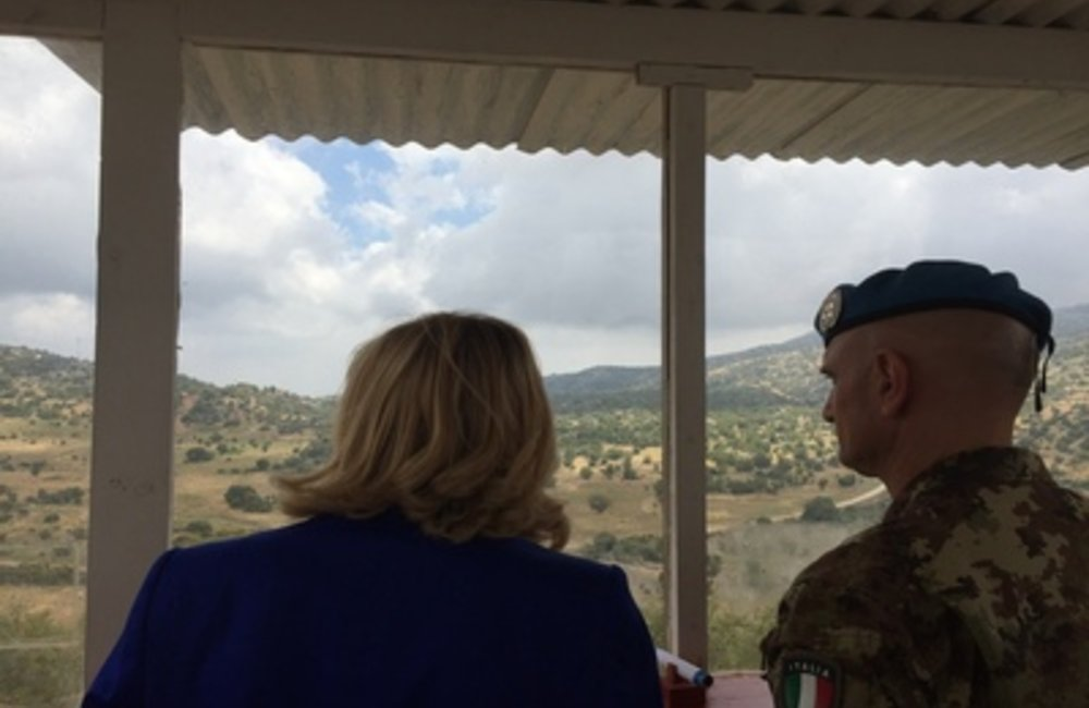 SCL Kaag and Gen. Portolano at UNIFIL base in Shebaa (26 06 15)