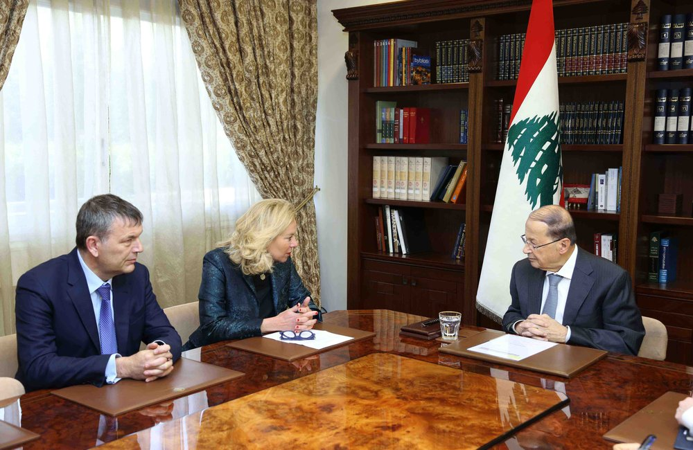 UN Special Coordinator Sigrid Kaag and Deputy SCL Philippe Lazzarini meet President Michel Aoun (16 01 17) Photo by Dalati-Nohra