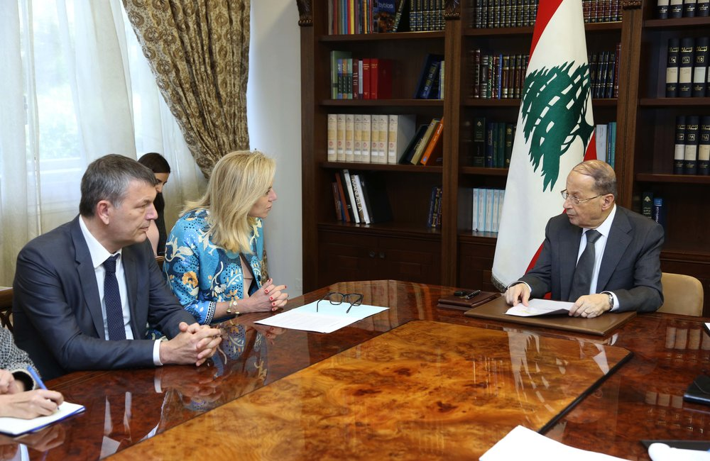 UN Special Coordinator Sigrid Kaag and Deputy SCL Philippe Lazzarini meet President Michel Aoun (24 03 17) Photo by Dalati-Nohra