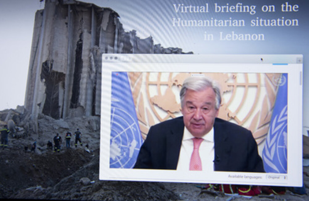 Secretary-General Antonio Guterres delivers remarks during virtual meeting on the humanitarian situation in Lebanon (10 August 2020)