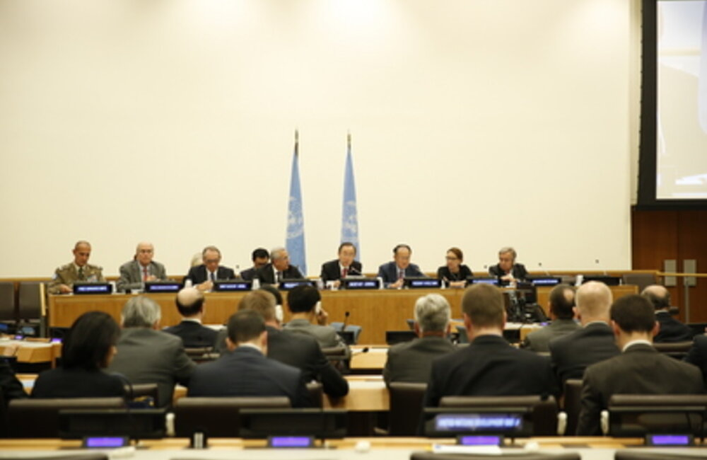 Secretary-General Ban Ki Moon and President Michel Sleiman open inaugural meeting of the International Support Group for Lebanon at UNHQ (25 September 2013)