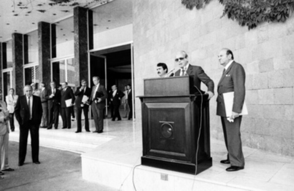 Secretary-General Javier Perez de Cuellar press stakeout at presidential palace in Lebanon as part of regional tour (June 1984)